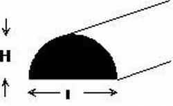 Demi-rond plastique 1,0 x 2,0 x 500 mm x 2 pièces